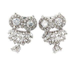 Lovely silver crystal pendant owl earrings